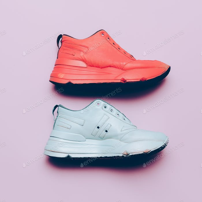 Sneakers on the platform. Art gallery Minimal design