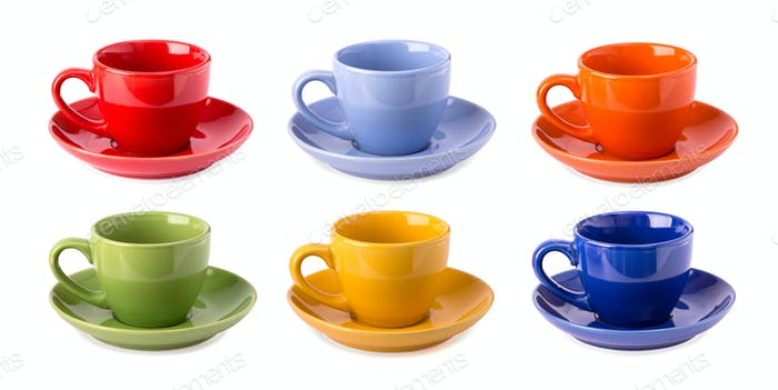 Multicolored cups isolated