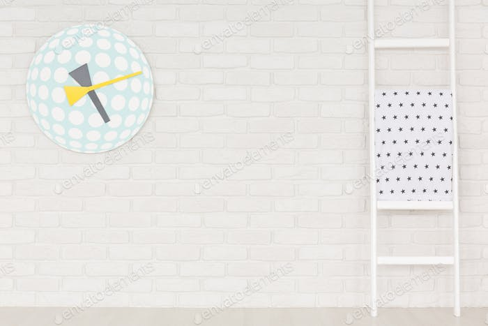 Interior with trendy wall clock