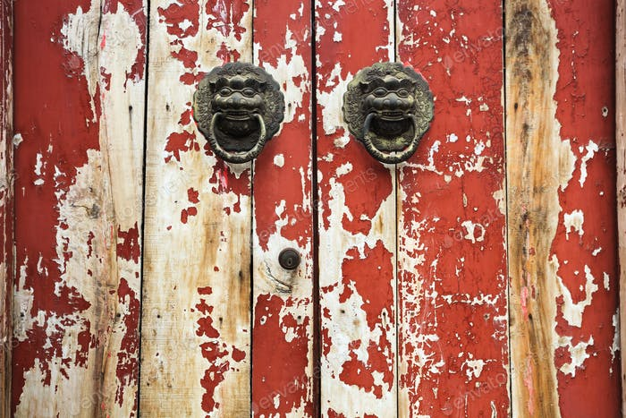 the mottled old door closeup