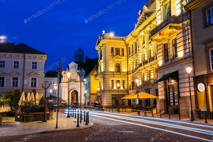 Vilnius Lithuania. Illuminated Lithuanian National Philharmonic