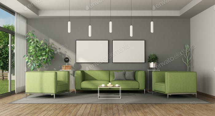 Modern living room with green furniture
