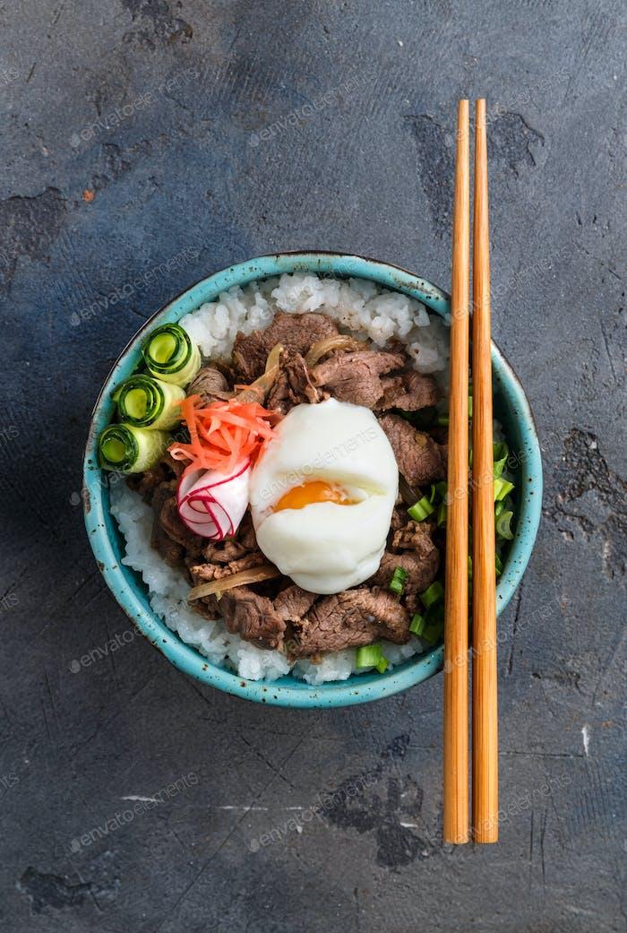 Draufsicht Rinderschale Gyudon mit Reis und Ei, Copyspace