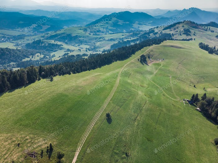 Trekking trial in Pieniny mountains,Poland,aerial drone view