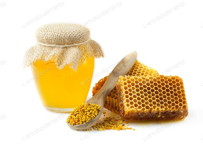 Honey honeycombs and pollen.