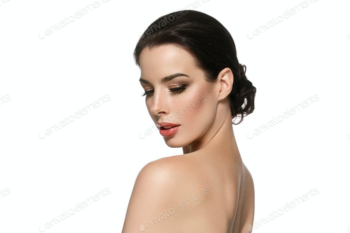 Beautyful skin care woman, beauty concept healthy face makeup, female model portrait.