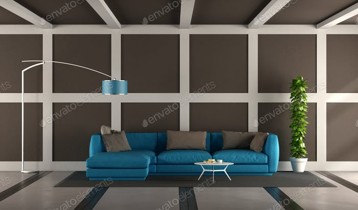 Blue and brown modern living room Foto von archideaphoto auf Envato Elements