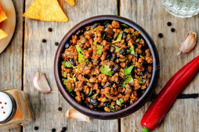 vegetarische Chili mit Koriander