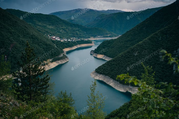 River Piva in the evening, Montenegro