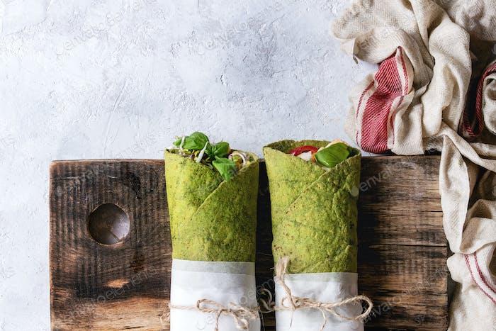 Green spinach tortilla