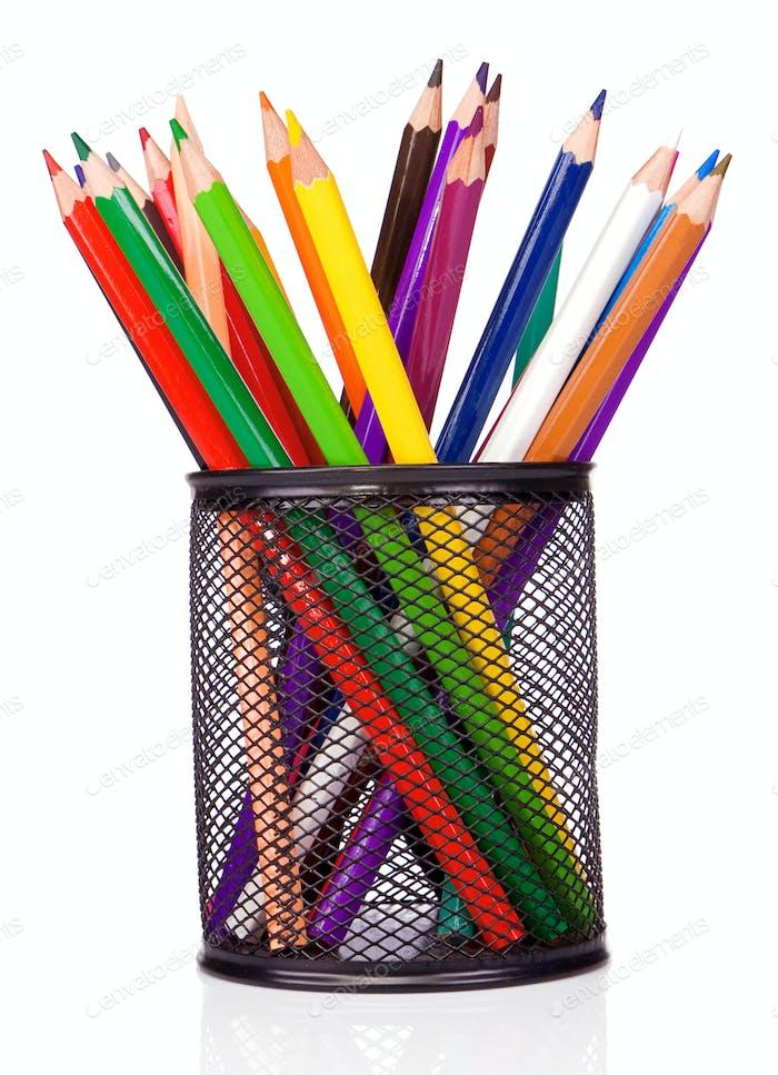 holder basket and colorful pencils