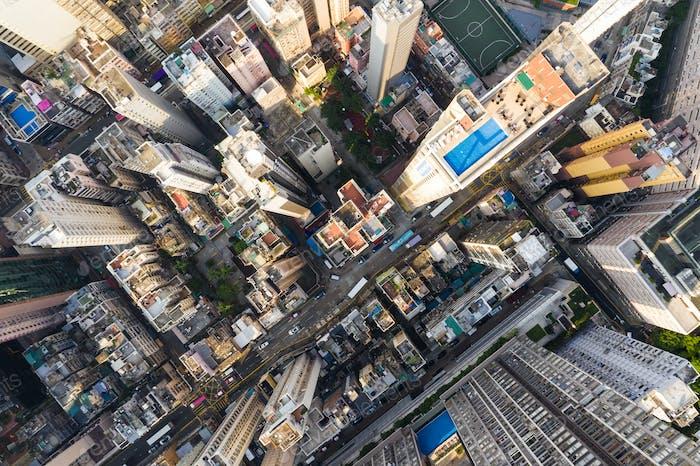 Sheung Wan, Hong Kong, 02 October 2018:- Top view of Building in Hong Kong