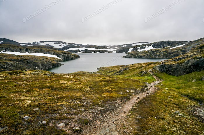 Landscape View of Pond and Mountains on Background, Norway, Hardangervidda National Park