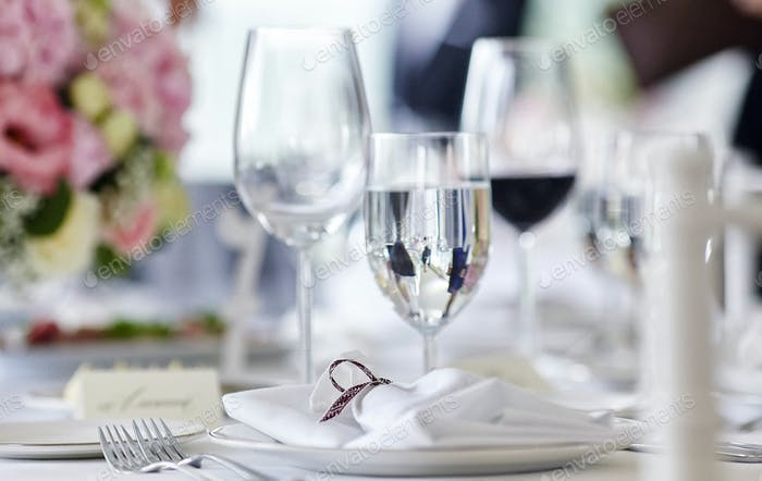 Close-up image of a table on a festive event, party or wedding reception.