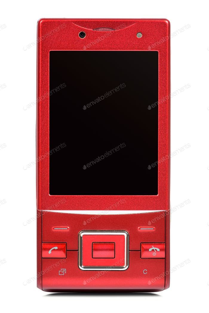 Red vintage slider phone on white background
