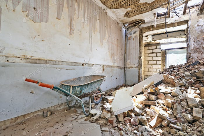 Abandoned room under demolition