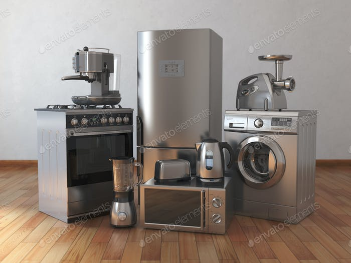 Home appliances. Household kitchen technics in the empty room