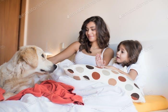 Familie mit Hund im Bett
