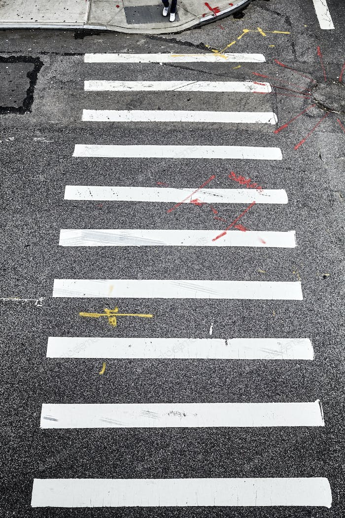 Pedestrian crossing in New York City from above.