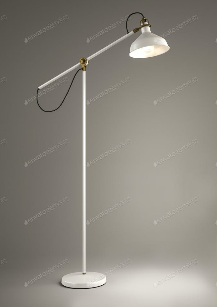 White floor lamp on grey background
