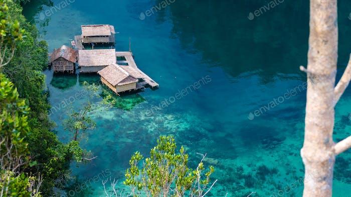 Bamboo Hut in Mangrove near Warikaf Homestay, Kabui Bay and Passage. Gam Island, West Papuan, Raja
