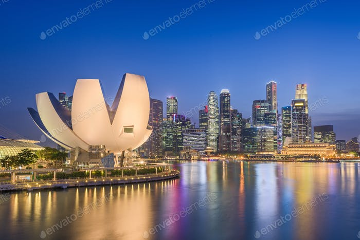 Singapore city skyline on the marina.