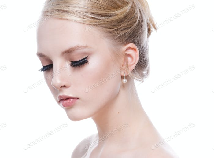 Beautiful woman beauty hairstyle classic elegant female blonde hair red lips