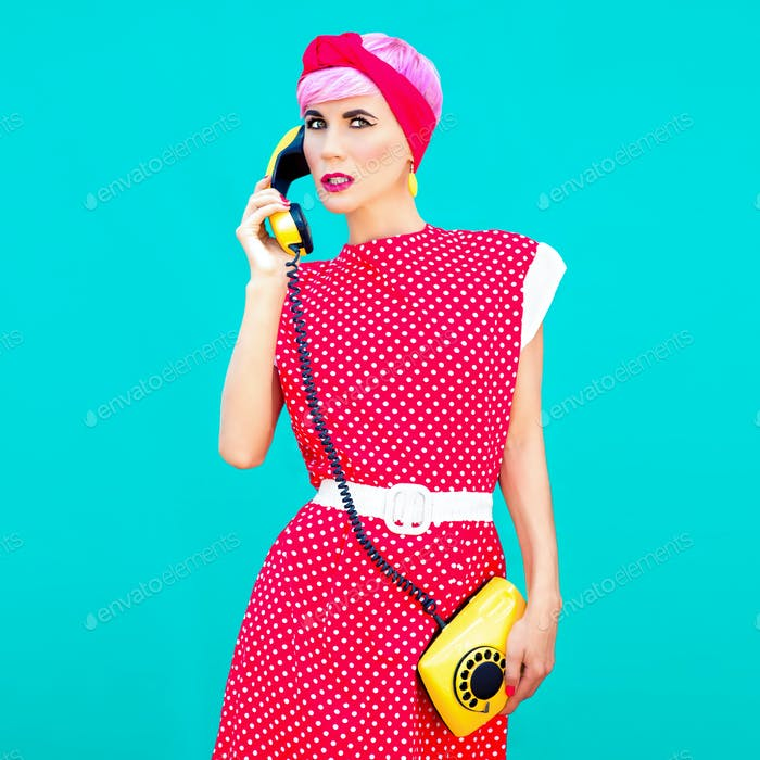 fashion portrait of retro style girl on a blue background