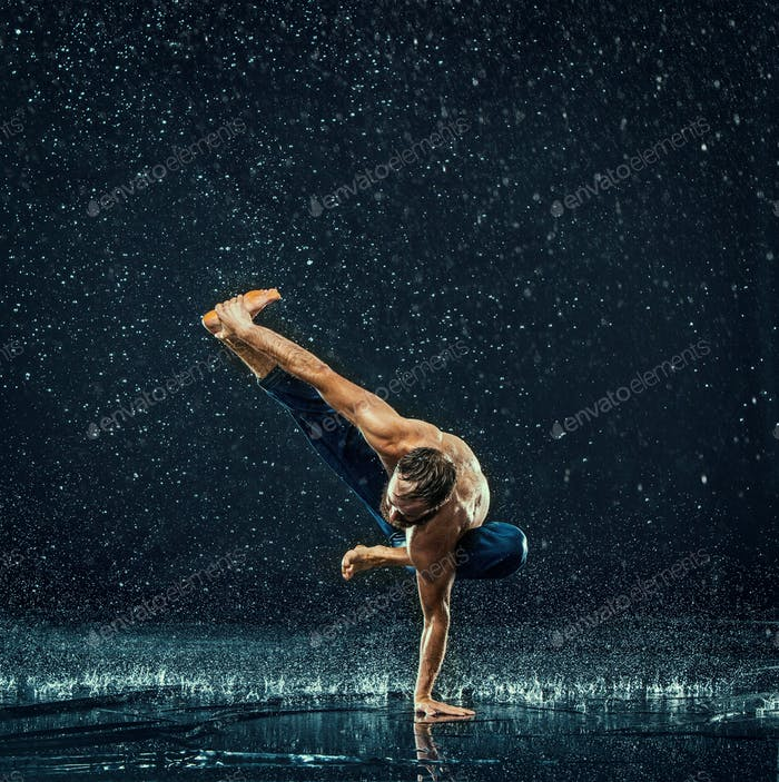 The male break dancer in water.