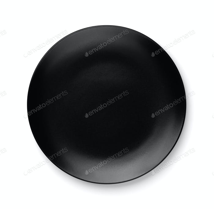 Top view of empty black plate