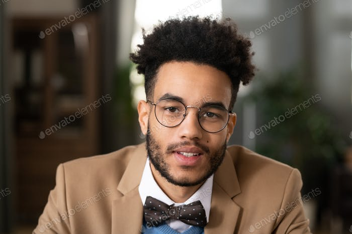 Portrait of handsome man with afro hairstyle