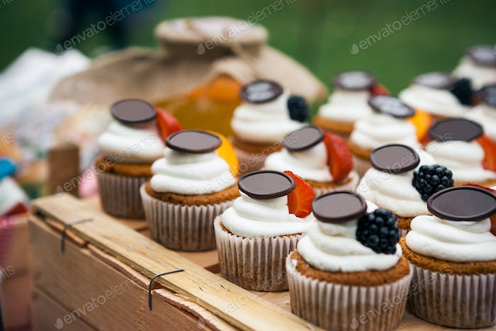 Cakes with berries and fruits