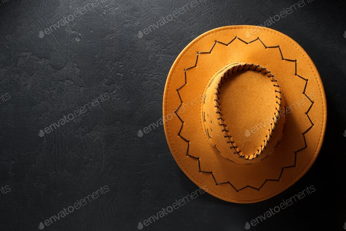 cowboy hat on black background