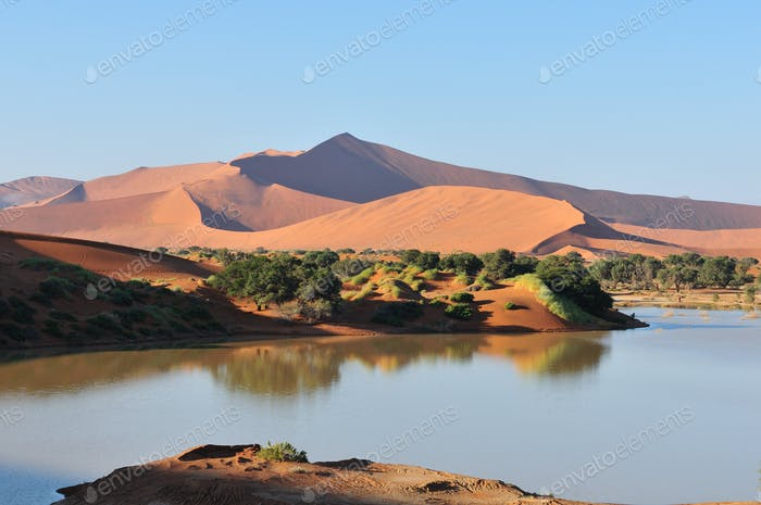 A flooded Sossusvlei in the Namib Desert
