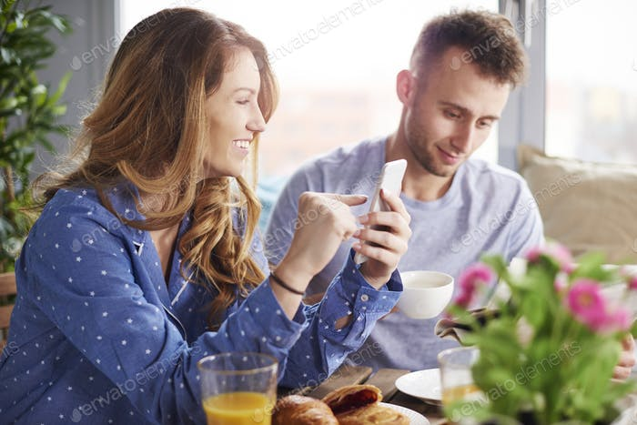 Young couple during morning hours
