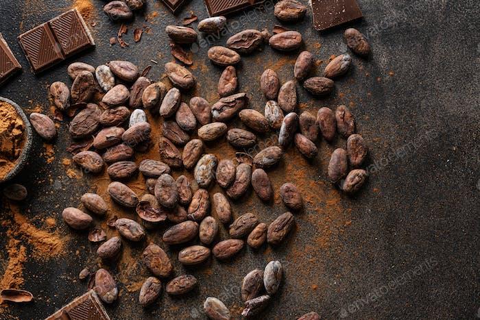 Dark chocolate chunks on table