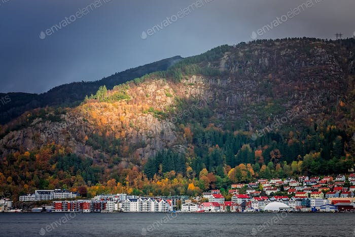 View of the buildings in the Bergen harbor