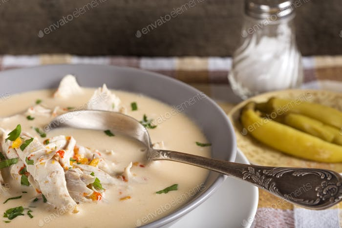 traditional chicken Romanian soup