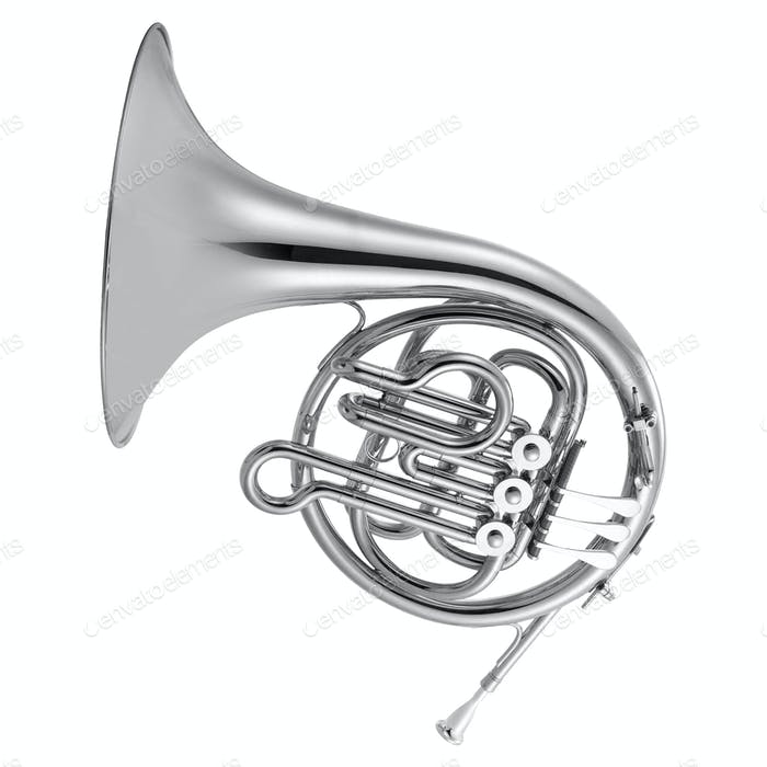Thumbnail for silver french horn isolated on white