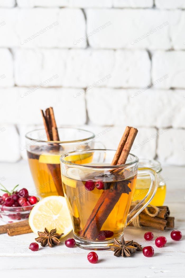 Herbst oder Winter heißer Tee mit Früchten, Beeren und Gewürzen