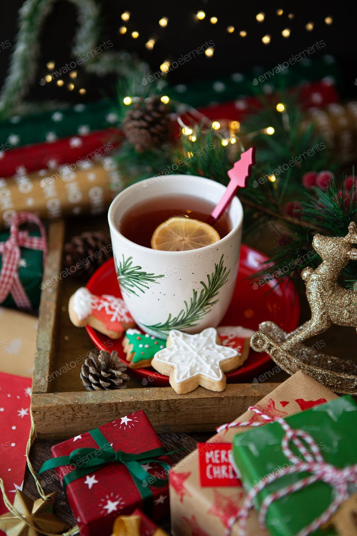Cup of tea and Christmas cookies