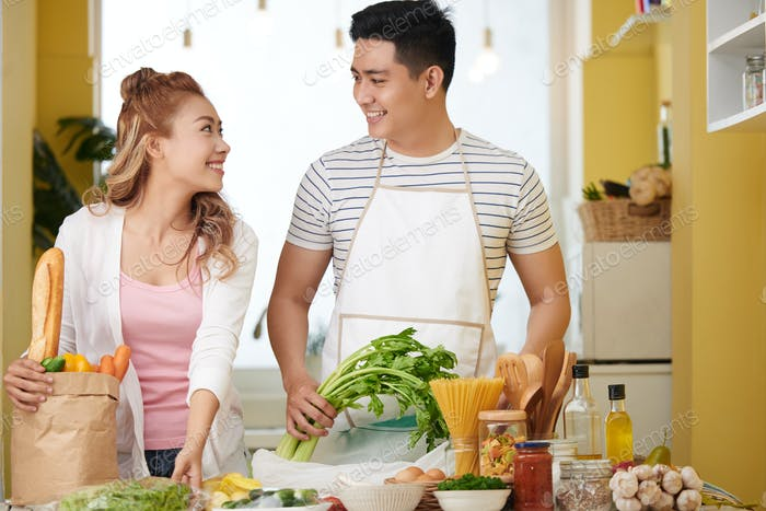 Happy cooking couple