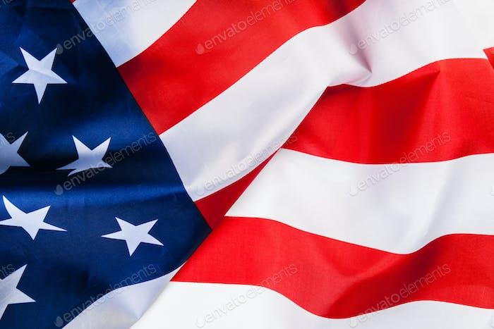 Borde de bandera americana aislado sobre fondo blanco