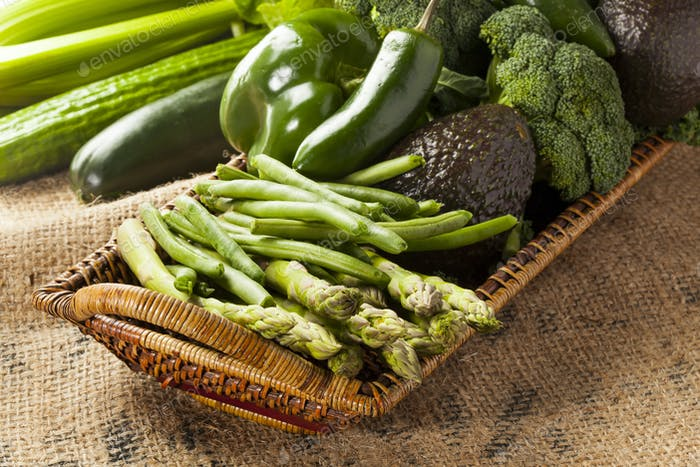 Group of Fresh Organic Assorted Green Vegetables