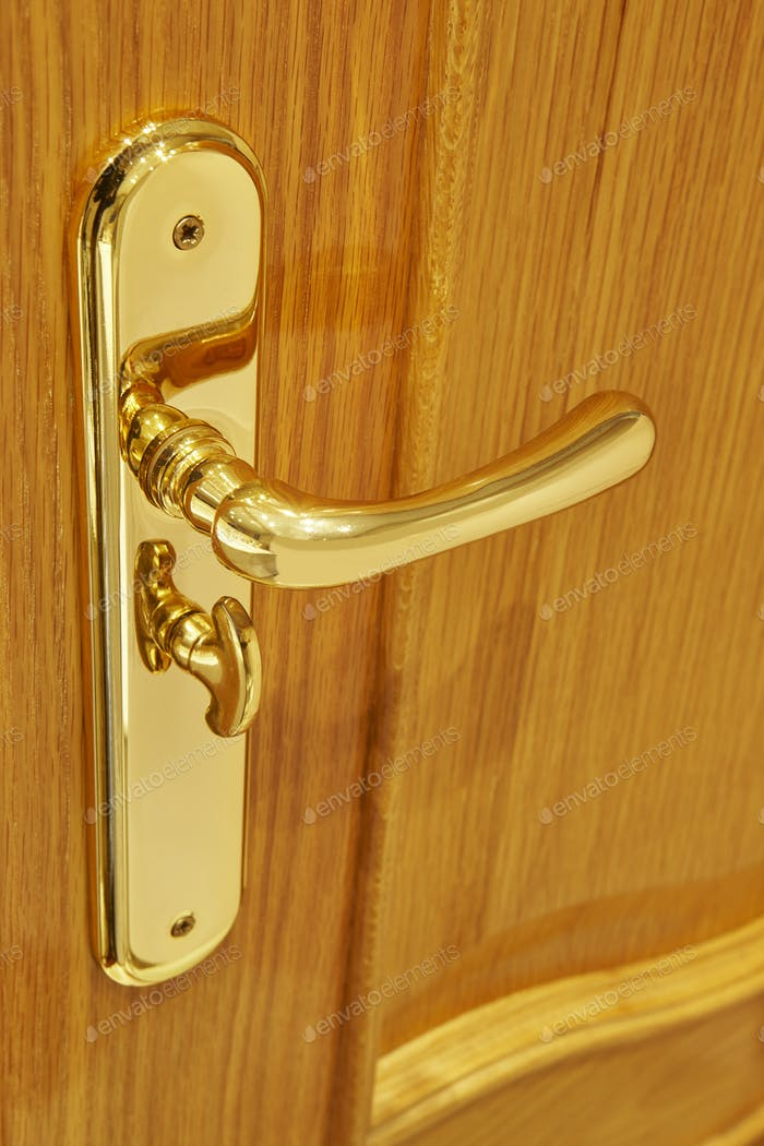 Golden door knob detail on an oak wooden door. Vertical
