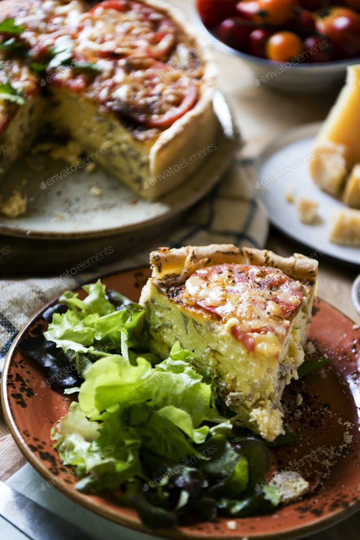 Mushroom quiche food photography recipe idea