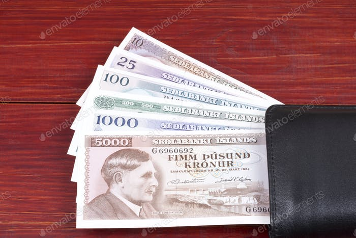 Old Icelandic money in the black wallet