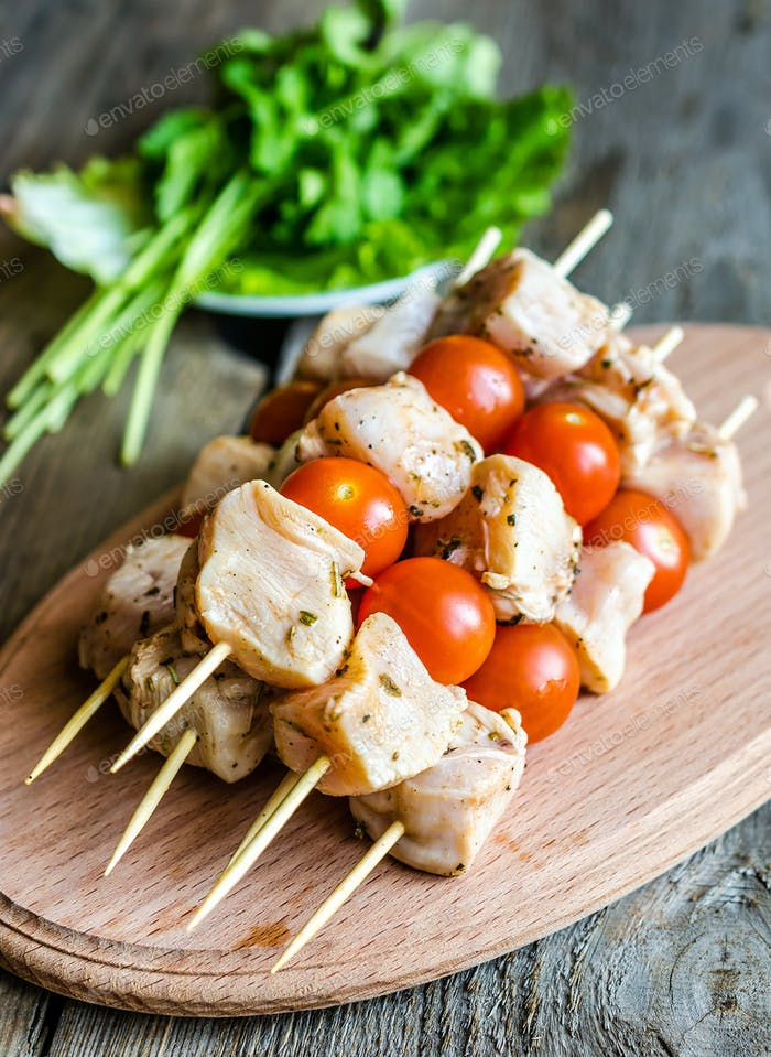 Chicken skewers with cherry tomatoes