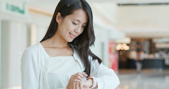 Woman use of smart watch