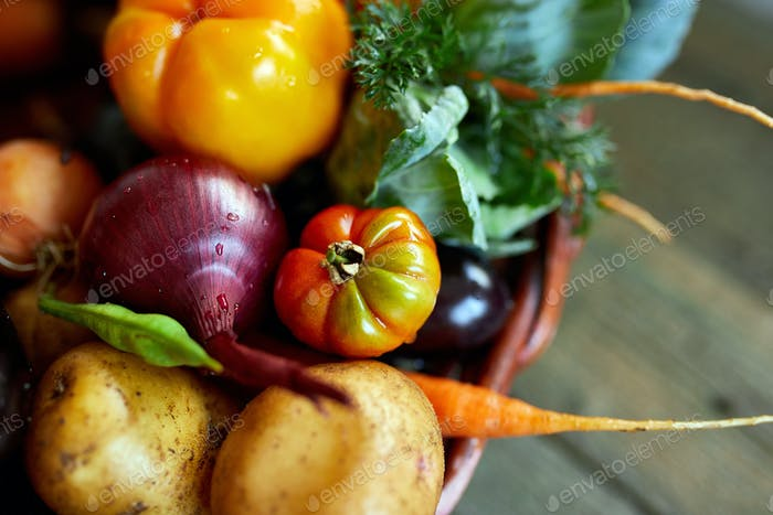 Assortment of fresh vegetables in a basket, bio healthy, organic food